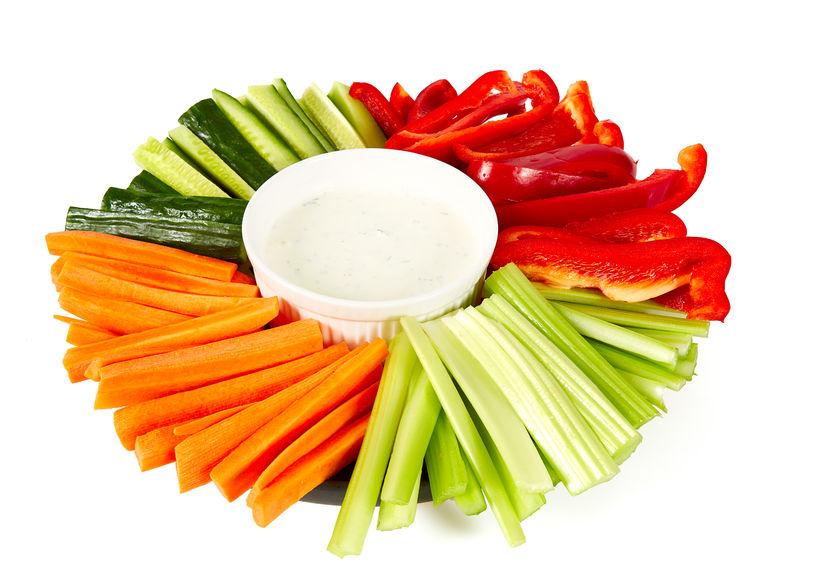 fresh vegetables and yoghurt dip