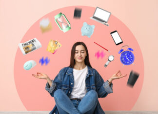 Meditating woman with lot of problems sitting near color wall